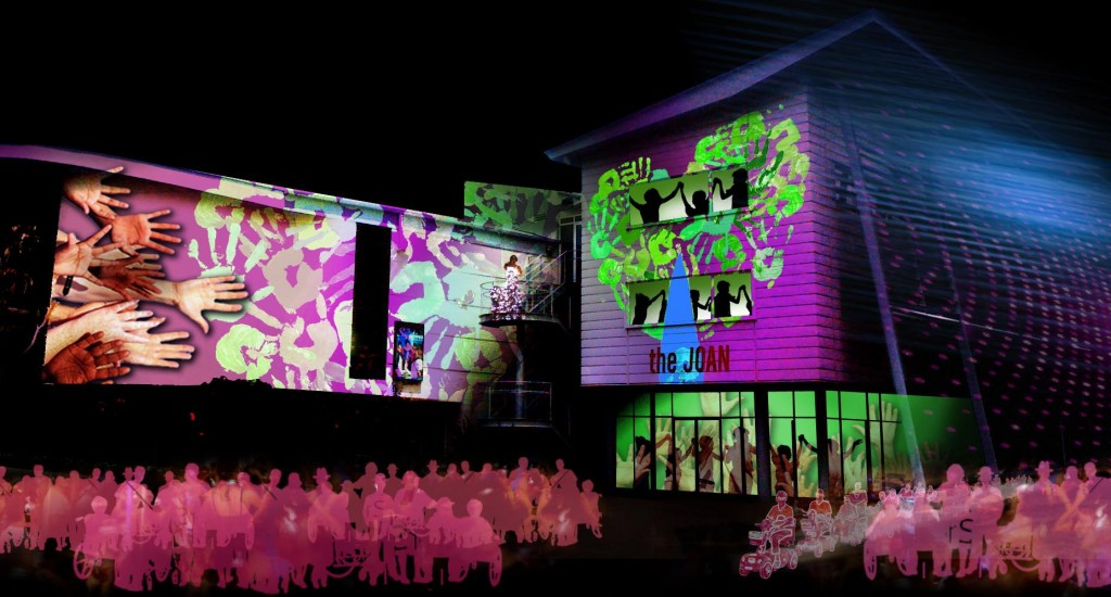 Animations, sound, video and music transform the exterior of the Joan Sutherland Performing Arts Centre, free for a general public audience.