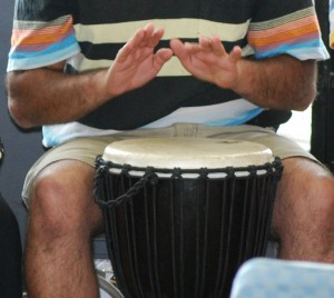 Drumming on a Djembe drum