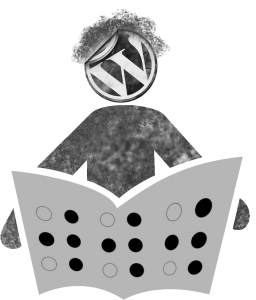 illustration of a figure reading WWW braille with a wordpress logo for a head, depicting writing with wordpress for accessible reading on the internet.