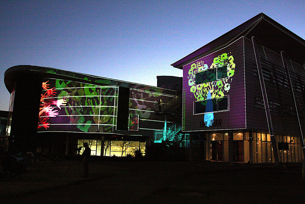 Animations, sound, video and music transform the exterior of the Joan Sutherland Performing Arts Centre.