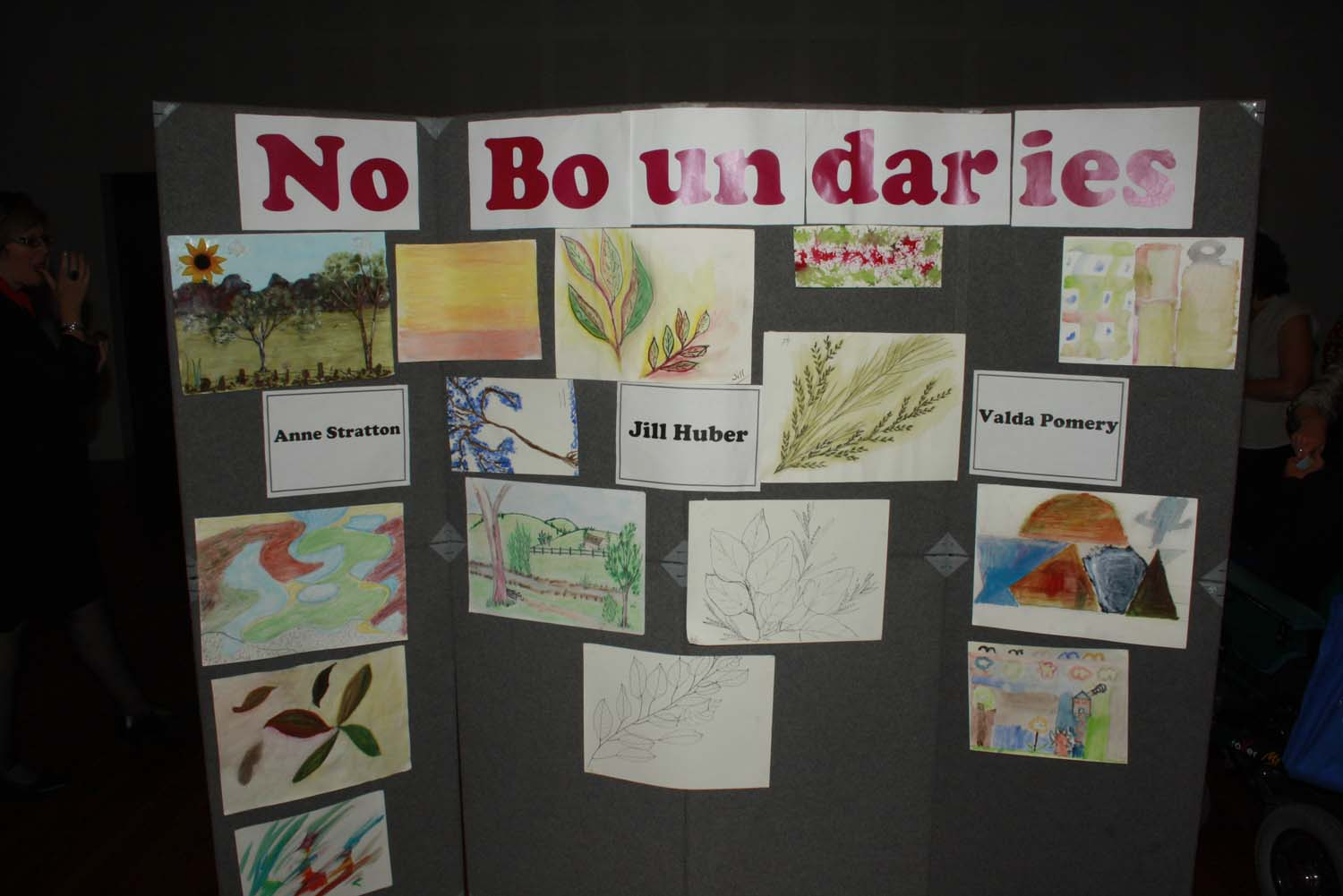 Artwork on exhibition from the No Boundaries Project visual arts group