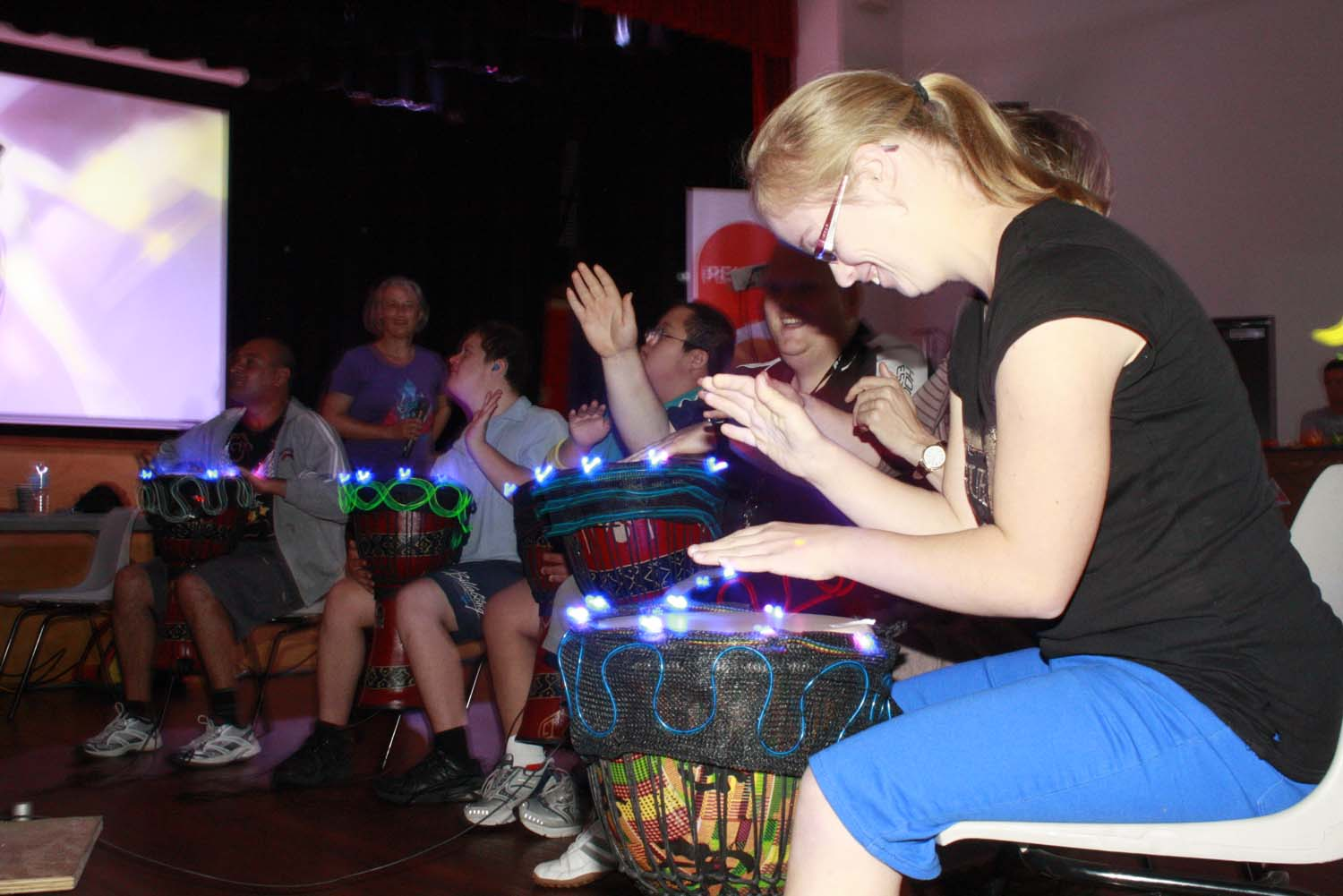 Drumming using the interactive drums from Light Rhythm Plays!