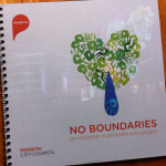 Front cover of the No Boundaries Booklet, showing the heart logo.